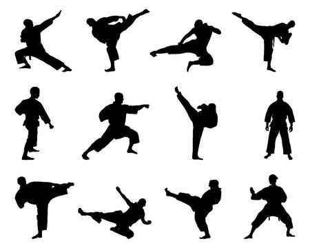 silueta humana: Siluetas negras de los combates de karate, vector Vectores