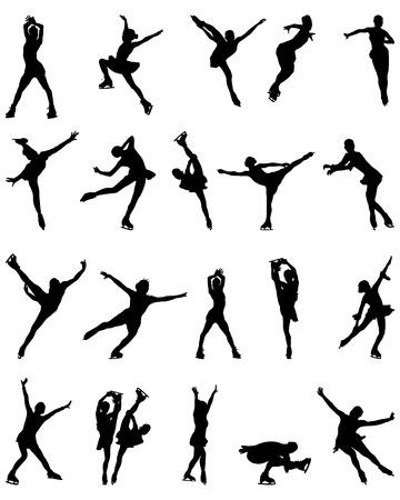Schwarze Silhouetten von Eiskunstläufer, vector