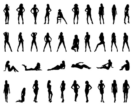 naked silhouette: Black silhouettes of girls in various poses, vector