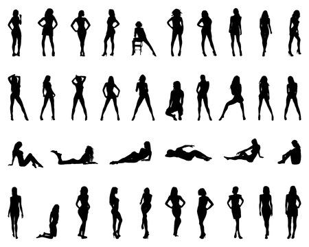 sexy nackte frau: Schwarze Silhouetten von Mädchen in verschiedenen Posen, Vektor- Illustration