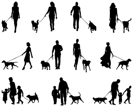 Black silhouettes of people with dog, vector Vettoriali