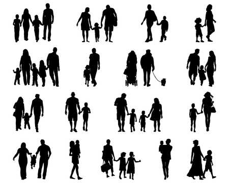 Black silhouettes of families in walk, vector