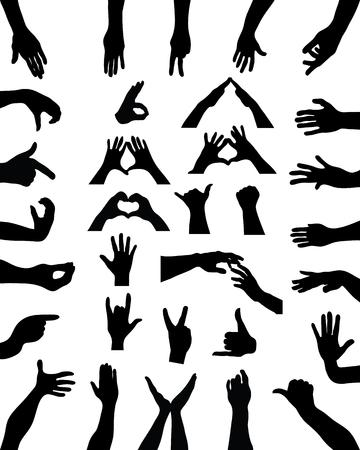 hi five: Big set of black silhouettes of hands, vector