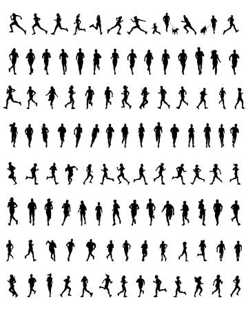 silueta hombre: Gran conjunto de siluetas negras de los corredores, vector