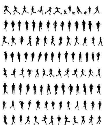 Big set of black silhouettes of runners, vector Vettoriali
