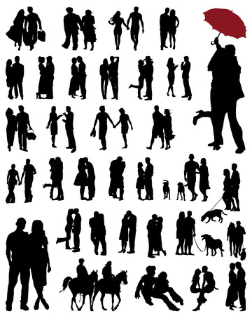 Black silhouettes of  couples, vector