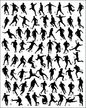 jugadores de futbol: Negro siluetas de jugadores de fútbol-vector