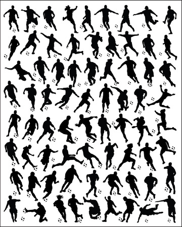 Black silhouettes of football players -vector
