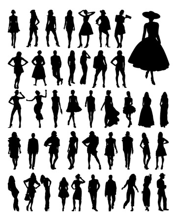 show: Black silhouettes of  fashion, vector
