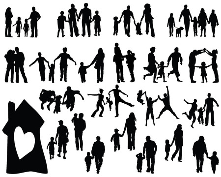 father and son: Black silhouettes of  families, vector