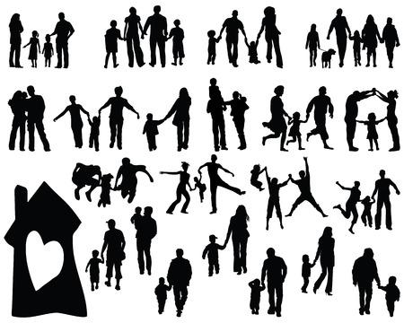 silueta niño: Siluetas negras de las familias, vector Vectores