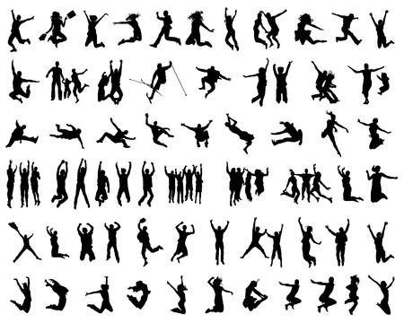 exaltation: Black silhouettes of jumping, vector