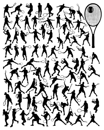 sports balls: Black silhouettes of tennis players, vector