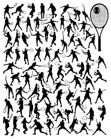 balones deportivos: Negro siluetas de jugadores de tenis, vector