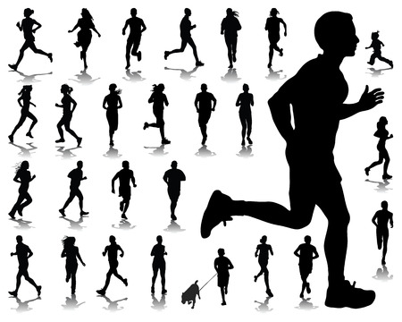 pentathlon: Silhouettes and shadows of running-vector