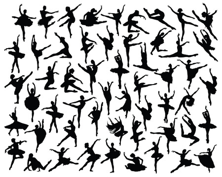 lyrical dance: Black silhouettes of ballerinas, vector