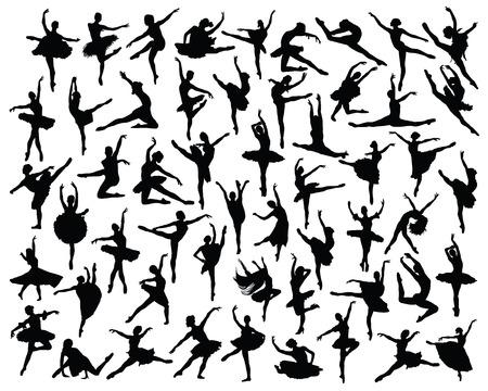 Schwarze Silhouetten von Ballerinen, Vektor Standard-Bild - 45008086