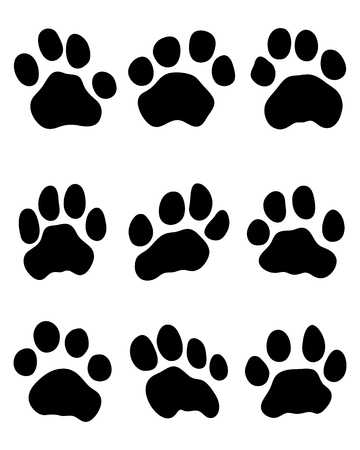 predators: Black print of tiger paw, vector