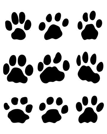 jaguar: Black print of jaguar paw, vector