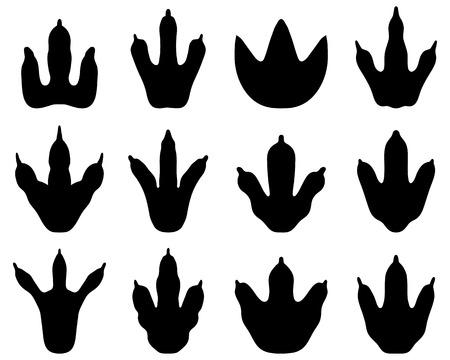mesozoic: Black footprint of dinosaur, vector