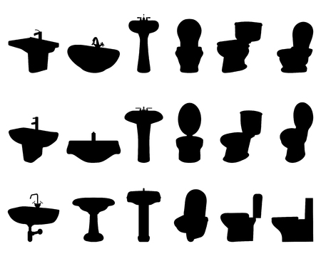 bidet: Black silhouettes of sinks and  toilet, vector Illustration
