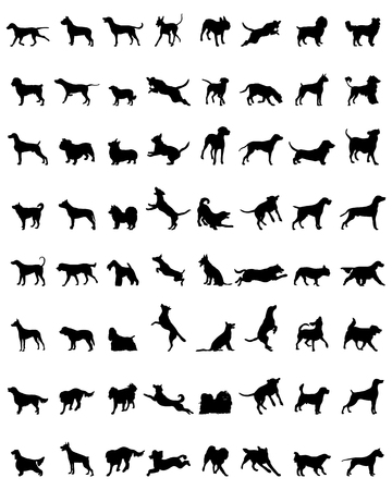 Different black silhouettes of dogs, vector 일러스트