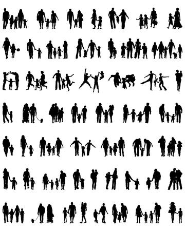 Sagome nere di famiglie in passeggiata, vettore Archivio Fotografico - 49135519