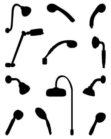 showers: Black silhouettes of different showers, vector