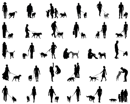 small people: Black silhouettes of people with dog, vector Illustration