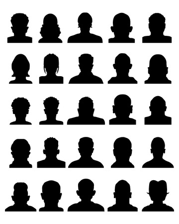 Black silhouettes of avatar profile, vector Illustration