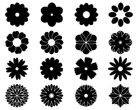 abstract symbolism: Black silhouettes of sixteen simple vector flowers