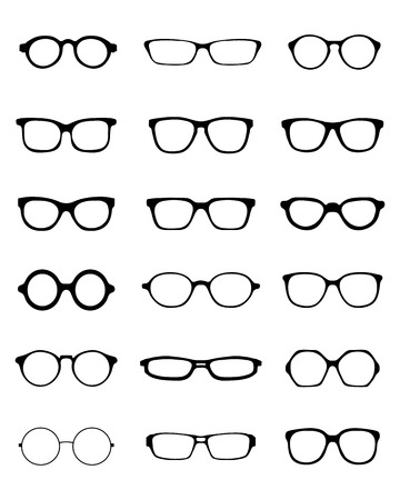 specs: Black silhouettes of fifteen different eyeglasses, vector