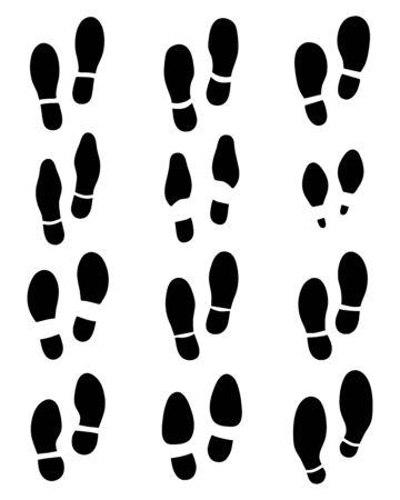 boots: Various black prints of shoe, vector