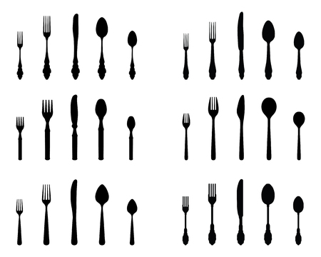 consume: Set of black silhouettes of cutlery, vector Illustration