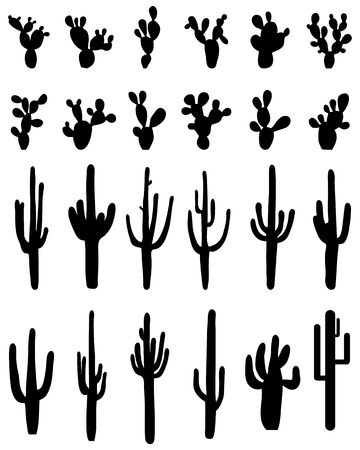 Black silhouettes of different cactus, vector