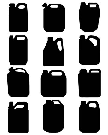 mileage: Black silhouettes of different canisters, vector Illustration