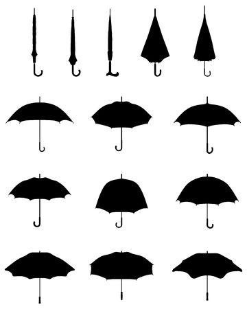 Black silhouettes of open and closed umbrellas, vector Çizim