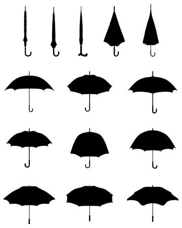 Black silhouettes of open and closed umbrellas, vector Vettoriali