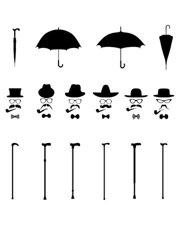 mustaches: Gentleman icon set vector, isolated vintage and retro