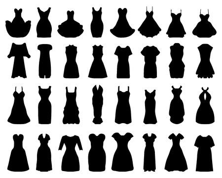 black dress: Black silhouettes of cocktail dresses, vector Illustration