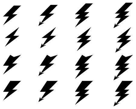 Black icons of thunder lighting, vector