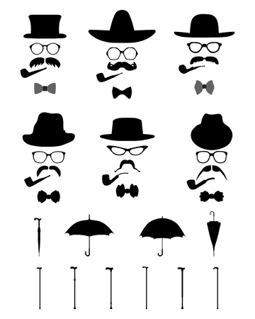 whisker characters: gentlemans set icon vector, isolated vintage and retro