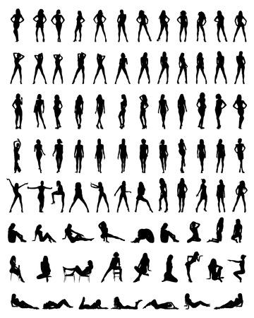 modelo desnuda: Siluetas negras de hermoso y muchachas atractivas, vector