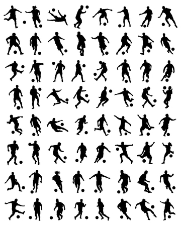 Black silhouettes of football players, vector