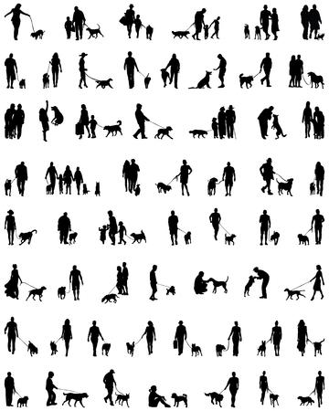Negro siluetas de personas con perro, vector