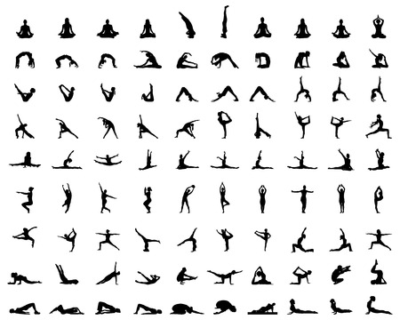 Black silhouettes of yoga and fitness, vector Vettoriali