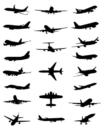 Black silhouettes of different aircrafts, vector