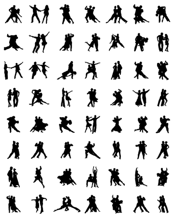 couple: Black silhouettes of tango players, vector