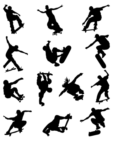 jumpers: Black silhouettes of skate jumpers, vector