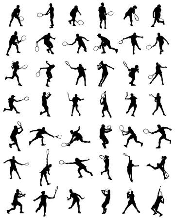wimbledon: Black silhouettes of tennis players, vector